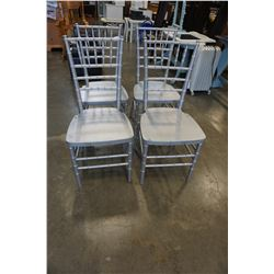 4 SILVER PAINTED CHAIRS