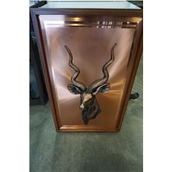 LARGE KUDU HORNED GOAT PICTURE ON COPPER IN WOOD FRAME