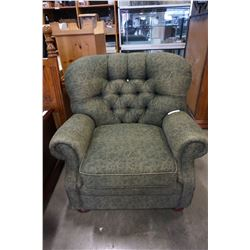 GREEN ROLLED ARM BUTTON BACK ARM CHAIR