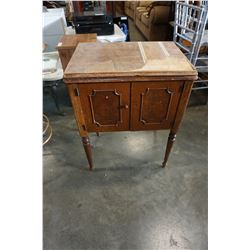 VINTAGE SEWING MACHINE TABLE W/ SEWING MACHINE INSIDE