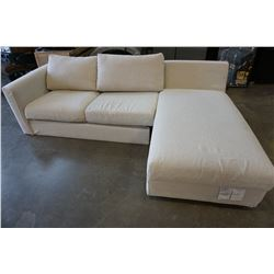 GREY SECTIONAL W/ STORAGE CHAISE, AS IS, MISSING PARTS