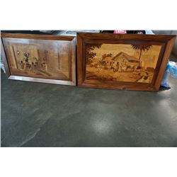 2 SHESHAM WOOD INLAID ART PIECES MADE IN INDIA