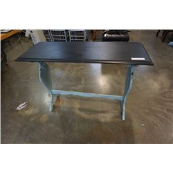 PAINTED DECORATIVE HALL TABLE W/ BLACK PAINTED TOP