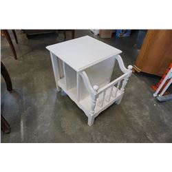 WHITE PAINTED MAGAZINE RACK RECORD HOLDER END TABLE