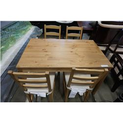 PINE DINING TABLE W/ 4 CHAIRS