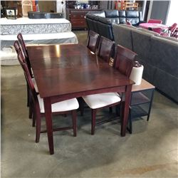 MODERN DINING TABLE W/ 6 CHAIRS AND JACK KNIFE LEAF