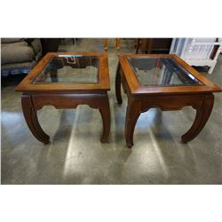 PAIR OF MODERN WOOD GLASS TOP END TABLES