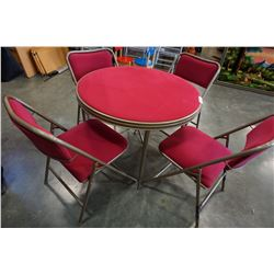 PINK FABRIC CARD TABLE AND 4 FOLDING CHAIRS