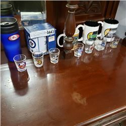 LOT OF NEW LICENSED NHL AND NBA MUGS, SHOTGLASSES, TRAVEL MUG, RETAIL $175