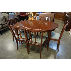 FRENCH PROVINCIAL DINING TABLE W/ 6 CHAIRS AND 2 EXTENSIONS