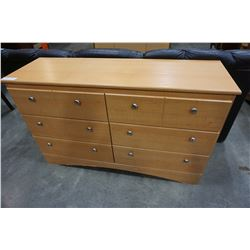 DYNAMIC FURNITURE 6 DRAWER MAPLE DRESSER