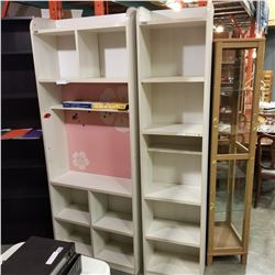 2 WHITE BEDROOM SHELVES 6-1/2 FT TALL
