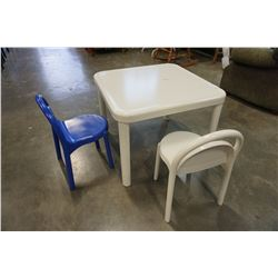 WHITE KIDS TABLE AND 2 CHAIRS