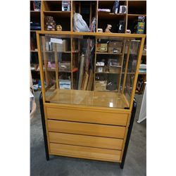 MAPLE IKEA SHELF UNIT W/ DISPLAY CASE