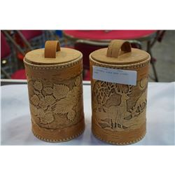2 HANDMADE BIRCH BARK LIDDED JARS