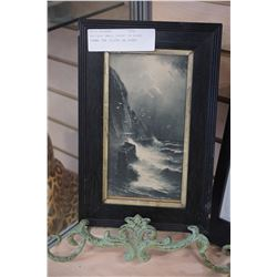 ANTIQUE SMALL PRINT IN BLACK FRAME THE CLIFFS ON STAND