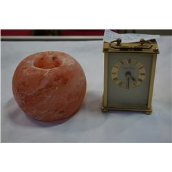 SETH THOMAS CLOCK AND ROCK SALT CANDLE HOLDER