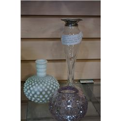 HOBNAIL MILK GLASS VASE, AMYTHYST GLASS VASE AND ETCHED GLASS VASE STERLING