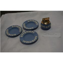 WEDGEWOOD ASHTRAYS AND TABLE LIGHTER