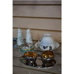 ROYAL VALE CHINA CUP AND SAUCER, CHINA SALT AND PEPPER, AND ROYAL WINTON CREAM AND SUGAR