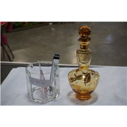 AMBER GLASS DECANTER, GLASS ICE BUCKET W/ TONGS, AND ART GLASS FISH