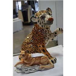 "CERAMIC TIGER CUB 18"" TALL AND CERAMIC CAT"