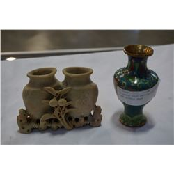 CLOISONNE VASE AND CARVED STONE DOUBLE VASE