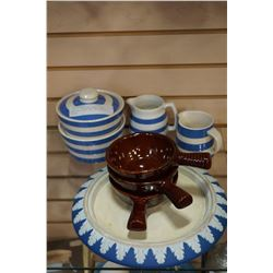 CORNISH WARE AND IRON STONE HANDLED DISHES AND WEDGEWOOD PLATE
