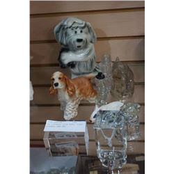 DOG FIGURES, COIN BANK, GLASS FIGURES, AND ART
