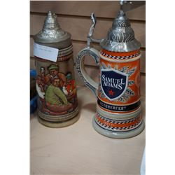 2 BEER STEINS GERMAN AND SAM ADAMS