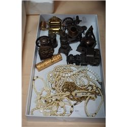 TRAY OF MINIATURE METAL FIGURES AND VINTAGE PEARL JEWELLERY, BONE JEWELLERY, AND PERFUME CONTAINER