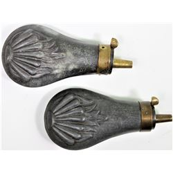 """Collection of 2 antique metal powder flasks, both complete and working, 4 1/4"""" long.both complete an"""