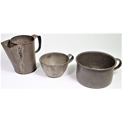 Collection of 3 includes 2 US Cavalry tin cups and Civil war period tin handled pouring pitcher 4 1/