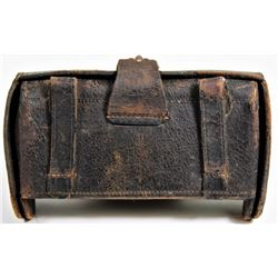 Leather US McKeever ammo pouch Model 1874, early pattern marked JH Wilson, complete with leather str
