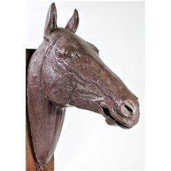 Full scale plastic horse head for bridle display, dark brown.display, dark brown.