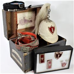 Small cased travel trunk containing various accoutrements for a early member of the Order of Knights
