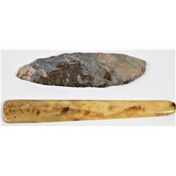 """Collection of 2 early Native American items includes 6"""" long stone scraper or knife, and early 7 3/4"""