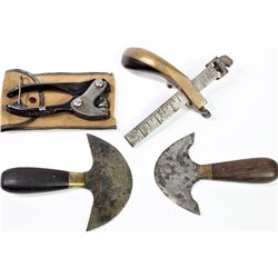 Collection of 4 leather working tools includes early rosewood and brass leather splitter marked G.S.