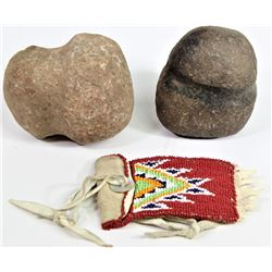 Collection of 3 includes small beaded on smoked tan flap bag, and 2 stone hammer heads both full gro