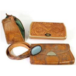 Collection of 4 vintage hand tooled leather items includes men's western belt and 3 bags.includes me