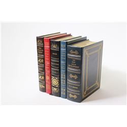 Collection of 5 leather bound reference books on firearms.on firearms.