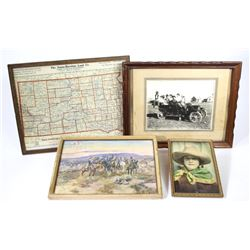 Collection of 4 framed items includes early Jonas-Hawkins Land Co. Wall SD. state map.early Jonas-Ha