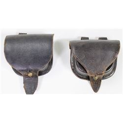 Collection of 2 early leather ammo pouches largest stamped HG Haedrick Philideplhia PA used in servi