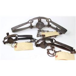 Collection of 3 antique traps includes Newhouse No. 3 large pan, Hawley & Norton 1 1/2 and Diamond B