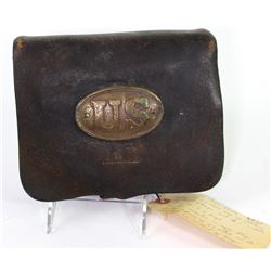 Original 1861 pattern US cartridge box 58 caliber with brass plate, all straps and buckles intact, 8