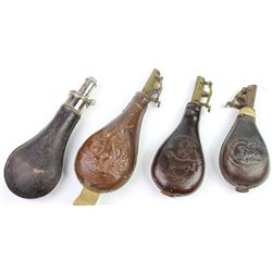 Collection of 4 includes very good Hawksley leather wrapped powder flask and 3 leather bodied shot f