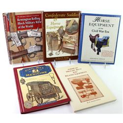 Collection of 5 reference books includes American Military Belts, Horse Equipment of the Civil War,