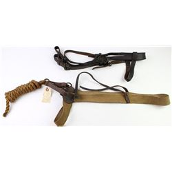 Collection of 2 includes model 1847 US military bridles and US officers shipping halter for railroad