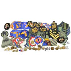Collection of misc. military patches, buttons and pins.pins.
