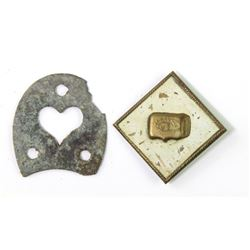 Collection of 2 Civil War items includes relic boot heel plate found at Fort Picolata Florida and Ar